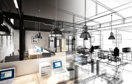 60619621 - sketch design of interior office, 3d interior wire frame