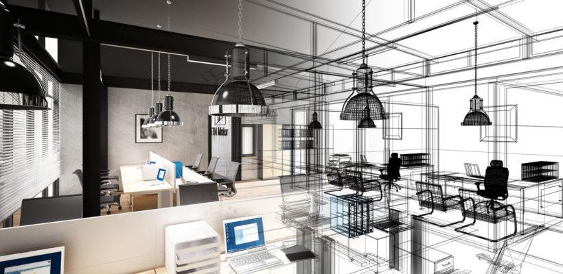 60619621 - sketch design of interior office, 3d interior wire frame
